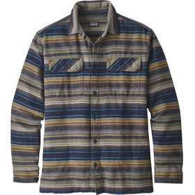 Patagonia M's LS Fjord Flannel Shirt Folk Dobby: Navy Blue